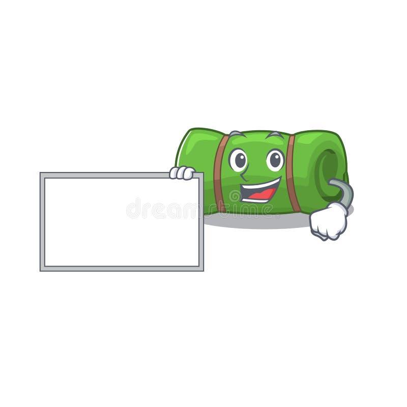 Camping mat Scroll met bordkartonnen mascotte ontwerpstijl vector illustratie