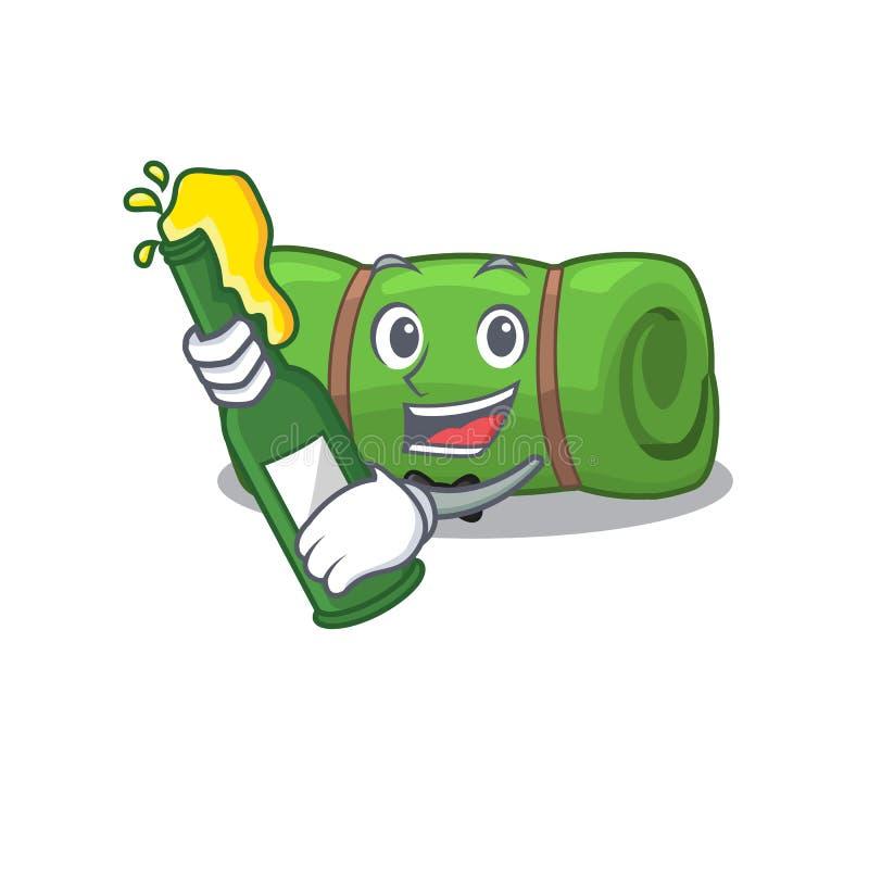 Camping mat Scroll met flesje bier mascot cartoon stijl stock illustratie