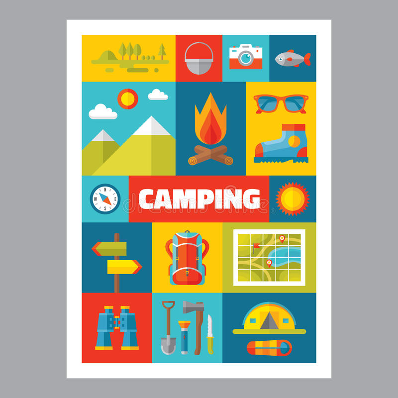 Free Camping - Mosaic Poster With Icons In Flat Design Style. Vector Icons Set. Stock Photography - 53273752