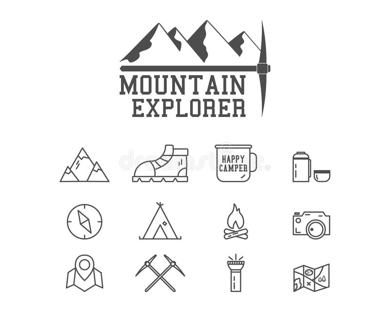 Camping mountain explorer camp badge, logo royalty free illustration