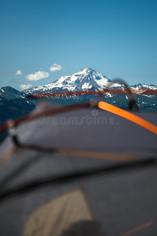 Camping at mountains stock photography
