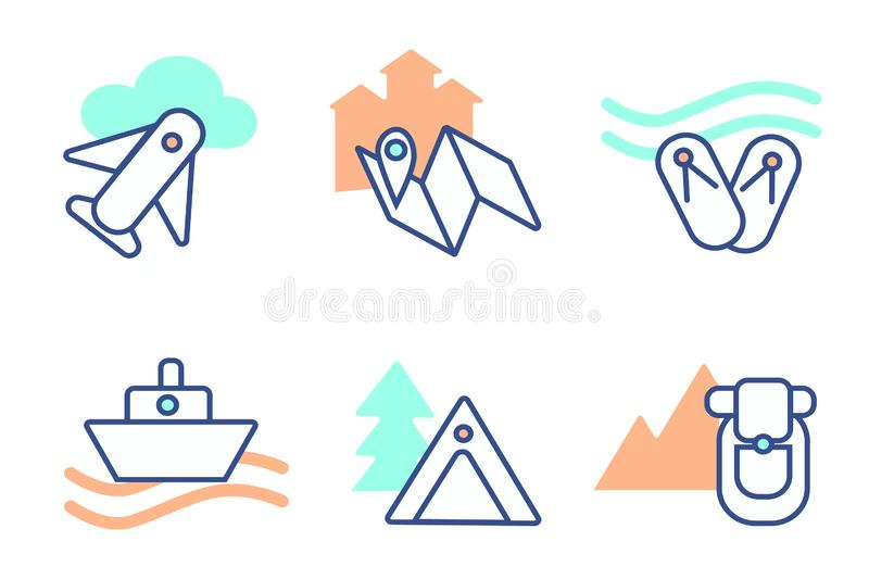 Camping in the mountains, sea holidays, flying by plane, excursions, cruises on the liner, camping with tents, tourism, beach holi royalty free illustration
