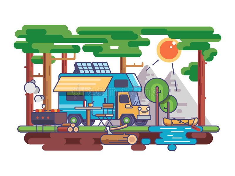 Camping in nature. Trailer near river, BBQ with barbecue. Vector illustration stock illustration
