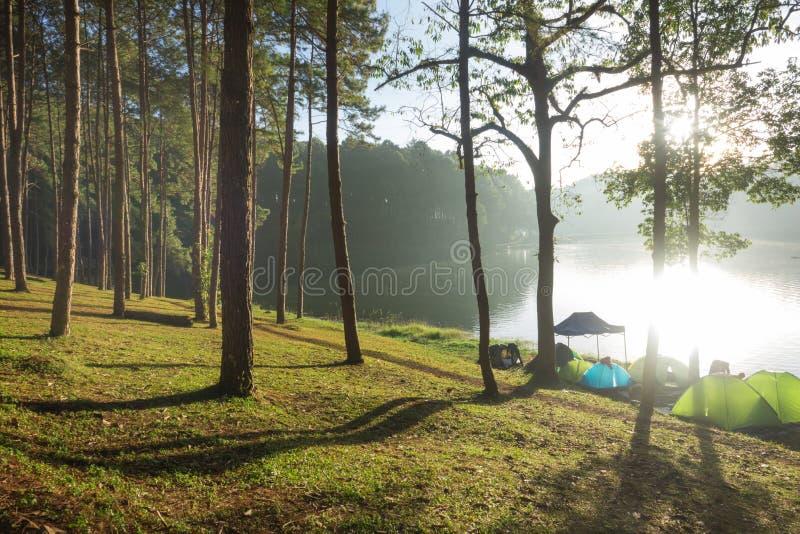 Camping near lake with Sunrise at Pang-ung, Mae Hong Son. royalty free stock photography