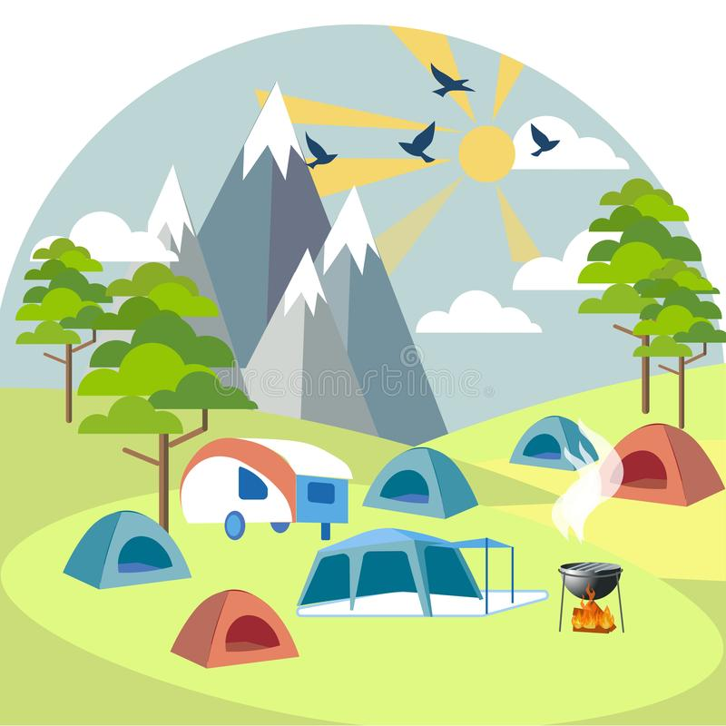 Camping near the mountains. Rest outside the city. In minimalist style Cartoon flat raster. Illustration royalty free illustration