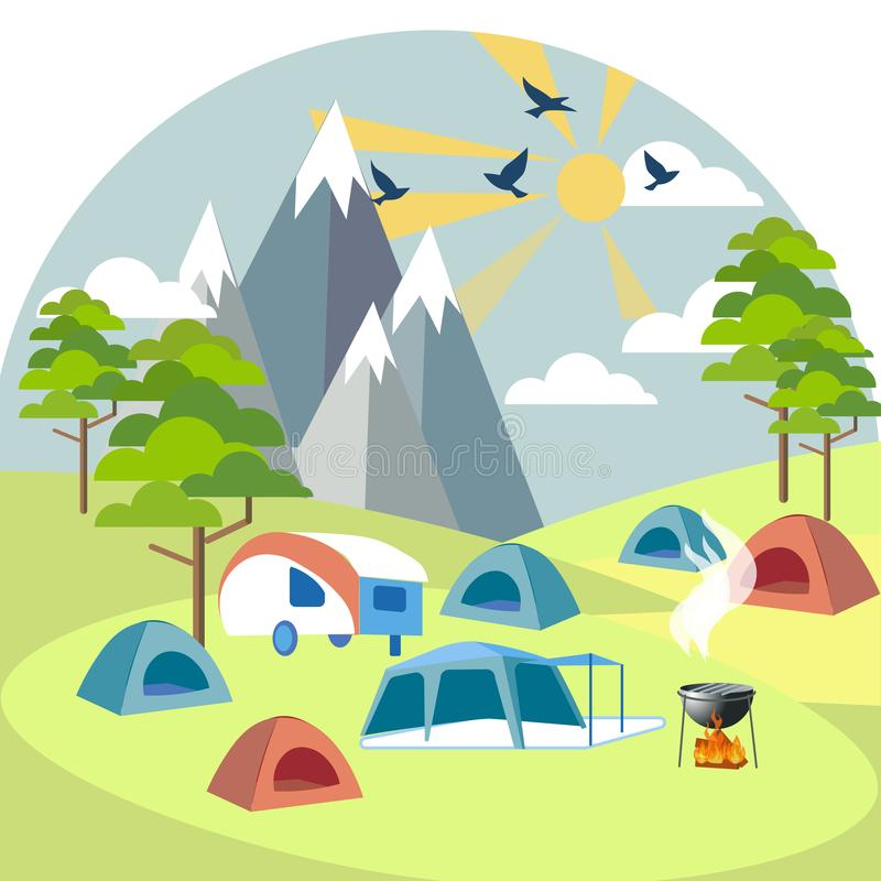 Camping near the mountains. Rest outside the city. In minimalist style Cartoon flat Vector. Illustration stock illustration