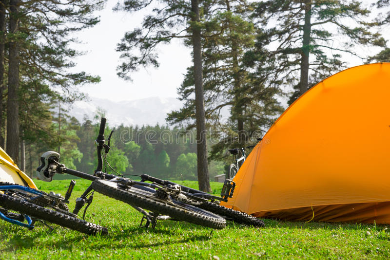 Camping near mountains royalty free stock image