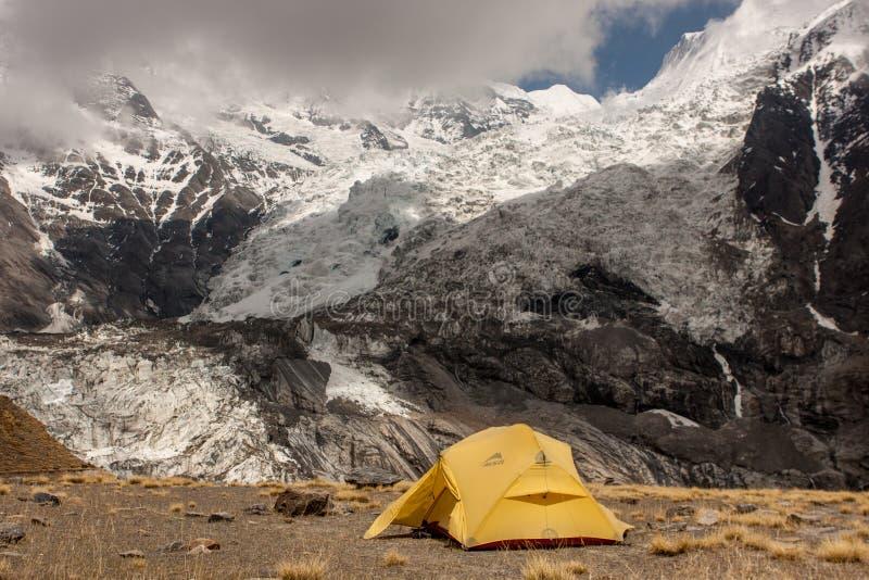 Camping near North Annapurna Base Camp. royalty free stock photo
