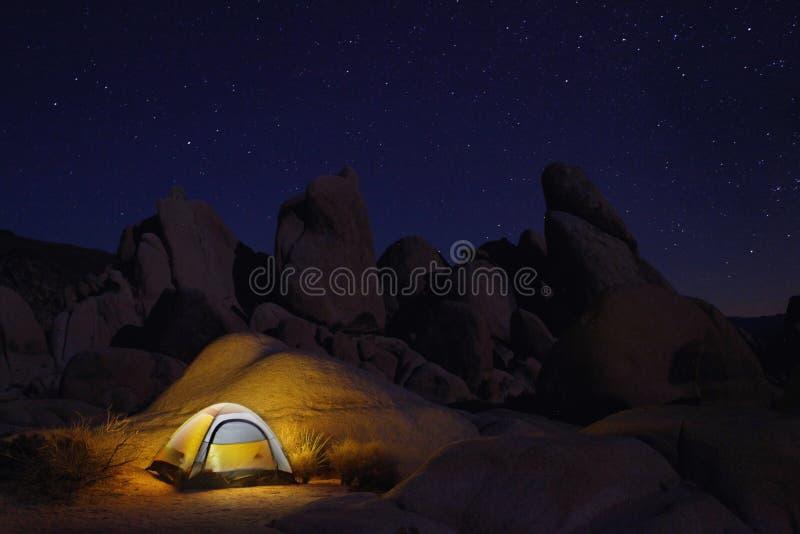 Camping at Night in Joshua Tree Park stock image