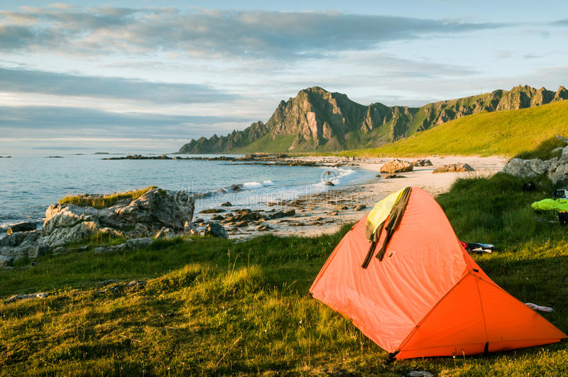 Camping in Norway royalty free stock photo