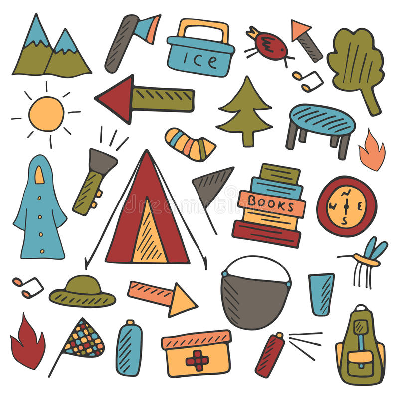 Camping objects stock illustration