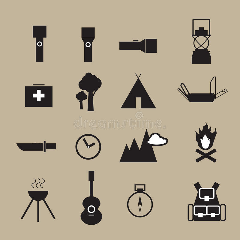 Camping outdoor adventure objects icons stock illustration