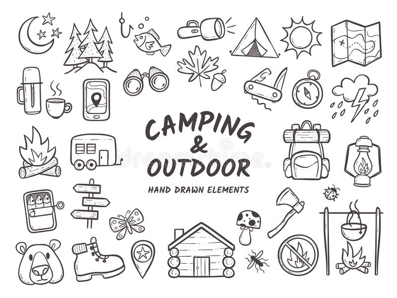 Camping and outdoor adventures hand drawn elements stock illustration