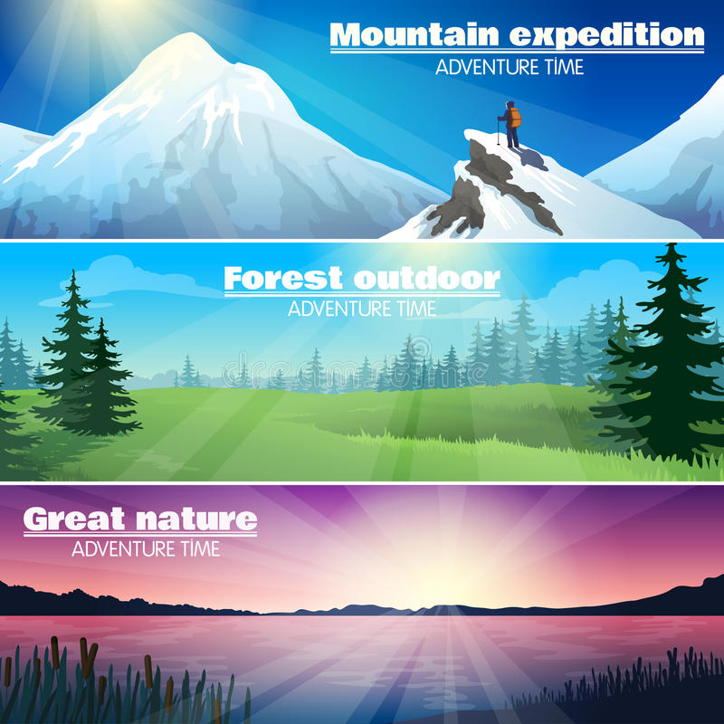Free Camping Outdoor Nature Horizontal Banners Set Stock Photo - 66563870