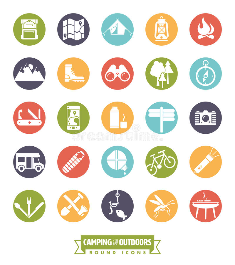 Camping and Outdoor Pursuits Round Icon Set stock illustration