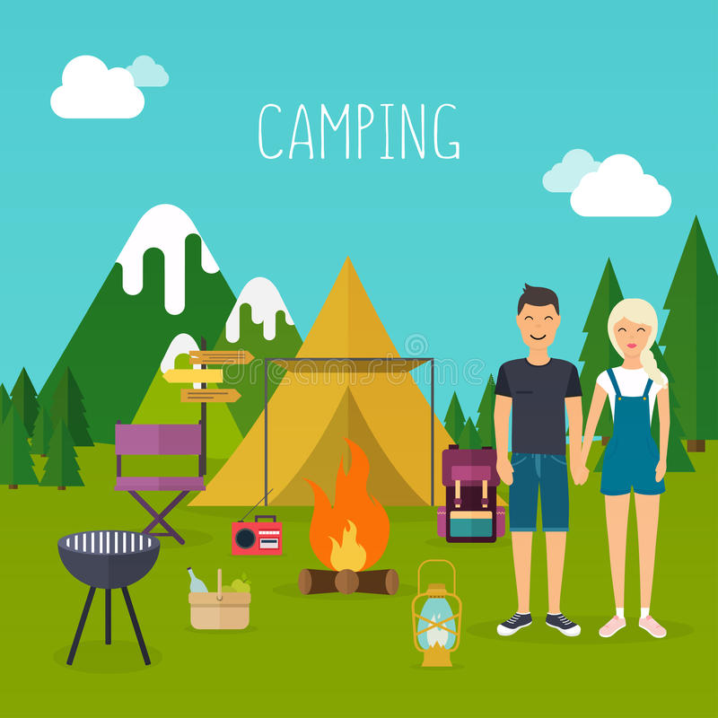 Camping and outdoor recreation concept with flat camping travel stock illustration