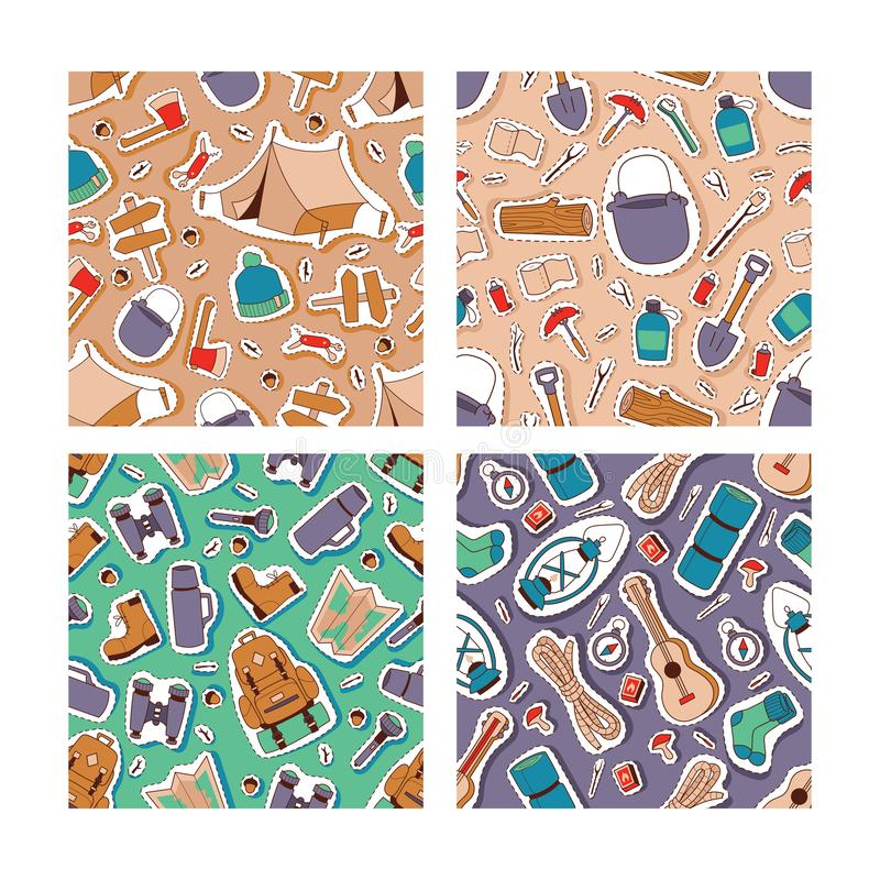 Camping and outdoor recreation vector illustration. Hiking equipment and clothing seamless pattern. Adventure time and vector illustration