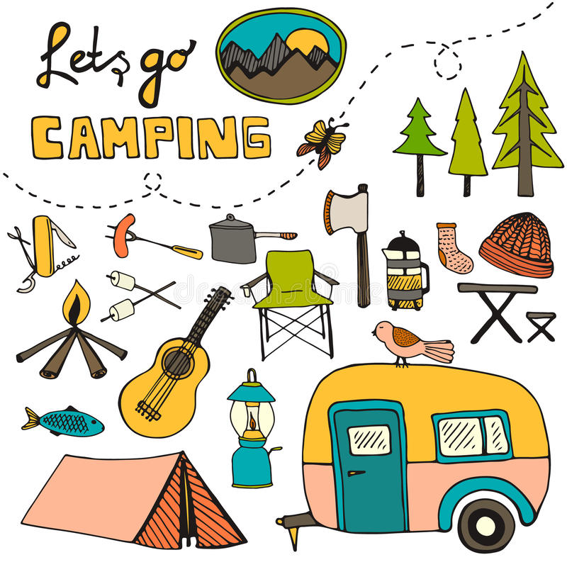 Camping pattern vector illustration