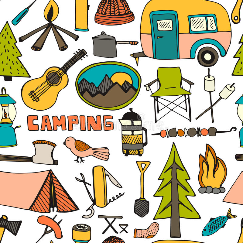 Download Camping Pattern Stock Vector Illustration Of Leisure