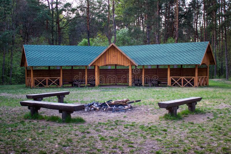 Camping place with a bonfire stock photo