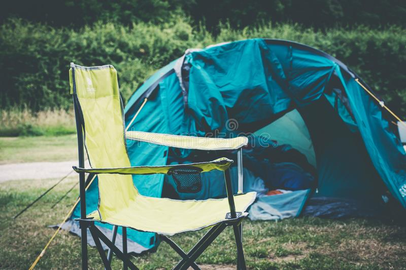 Camping place with tent. And equipment outdoors stock image