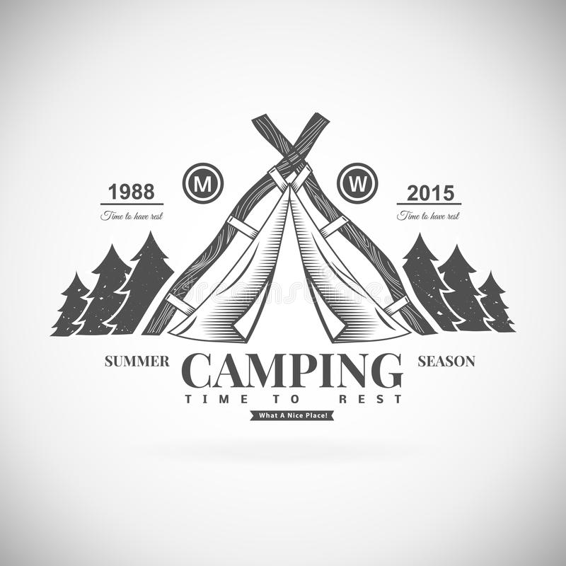 Camping retro vector logo stock illustration