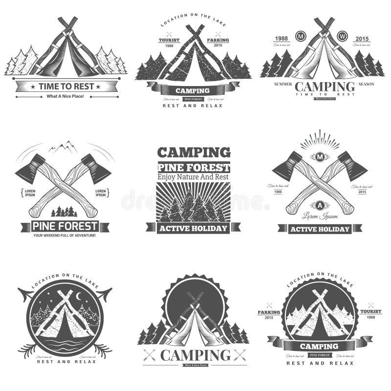 Camping retro vector logo stock illustration