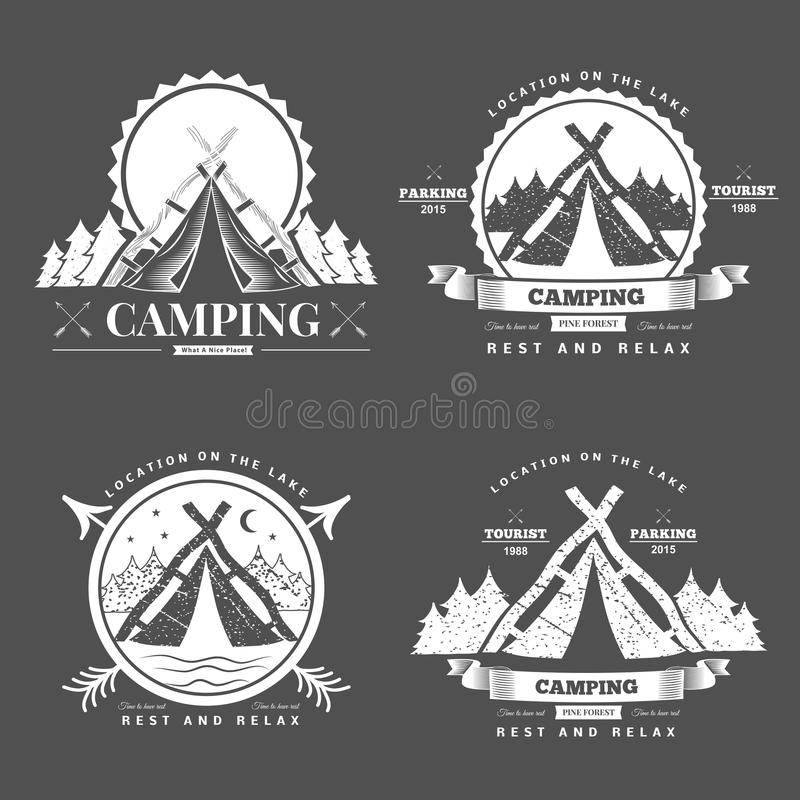 Camping retro vector logo vector illustration