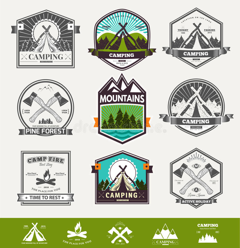 Camping retro vector logo royalty free illustration