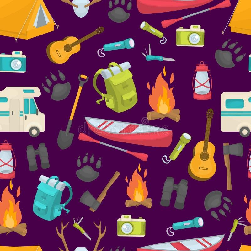 Camping Seamless Pattern. With lantern shovel binoculars tent backpack axe flashlight boat on purple background vector illustration royalty free illustration