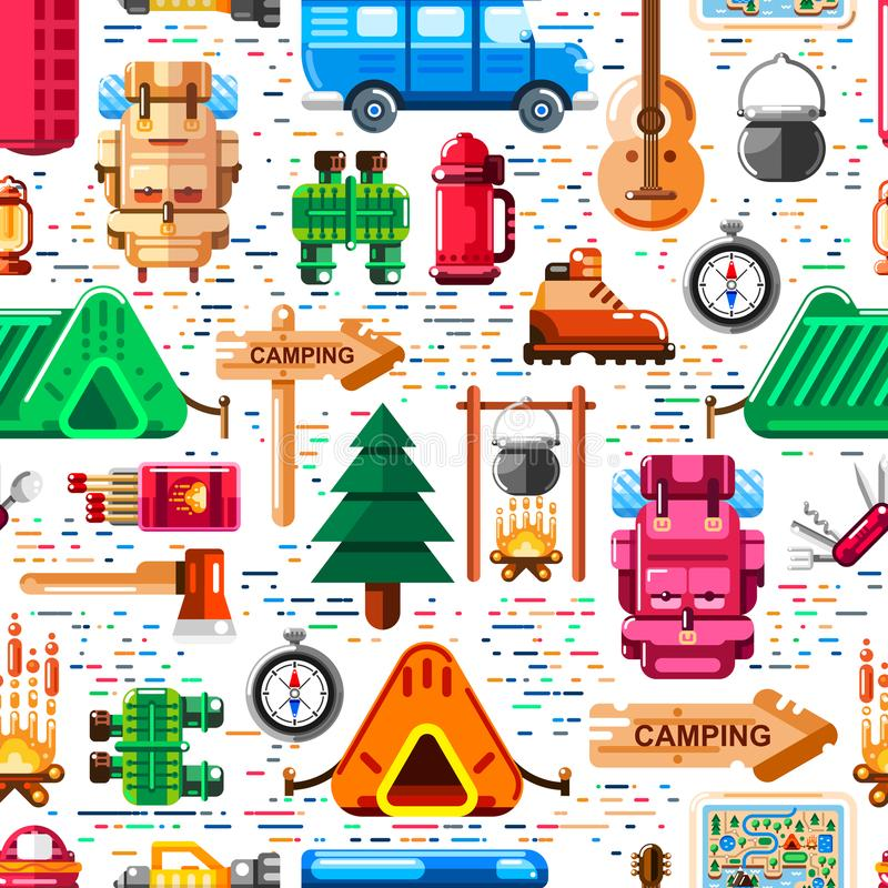 Camping seamless pattern. Vector camp stuff, equipment and tools illustration. Print, background modern design. vector illustration