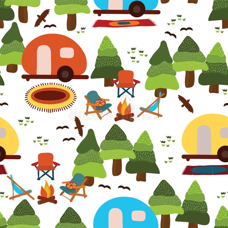 Camping seamless vector pattern background vector illustration