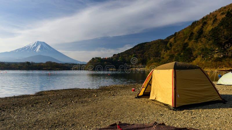camping at Shoji lake with mt. Fuji stock images