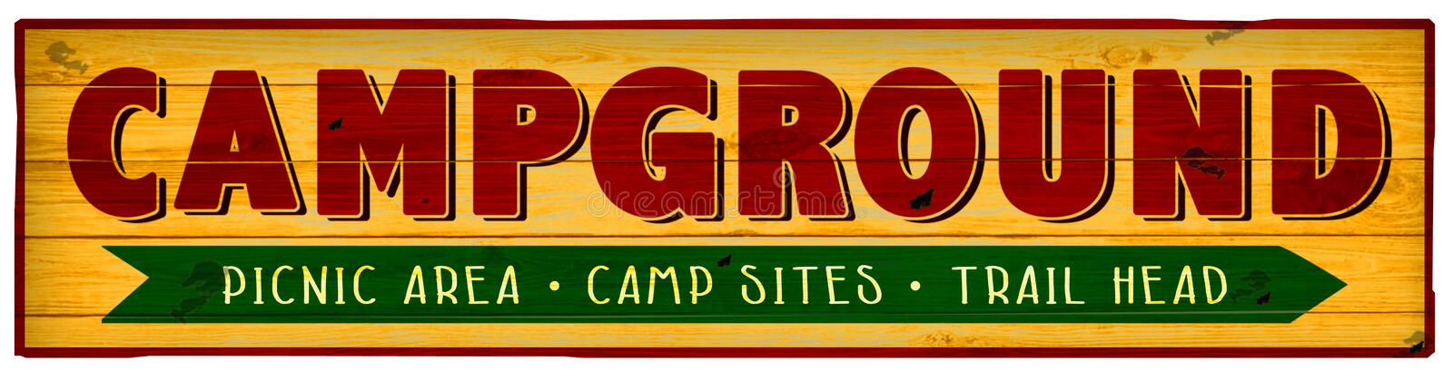 Camping Sign Campground Picnic Trail Hiking Vintage royalty free stock photos