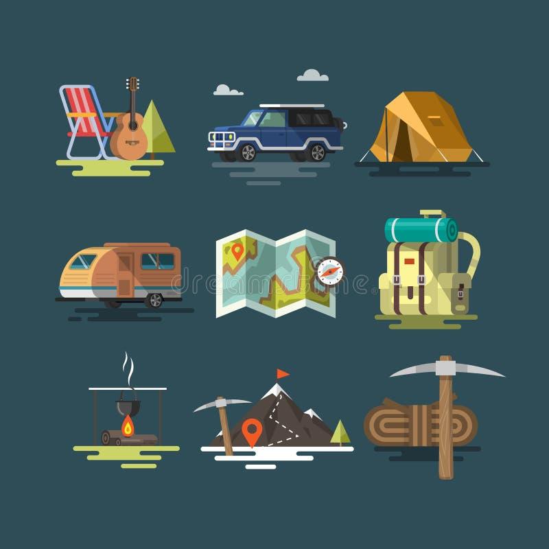 camping Sistema de símbolos del equipo que acampan ilustración del vector