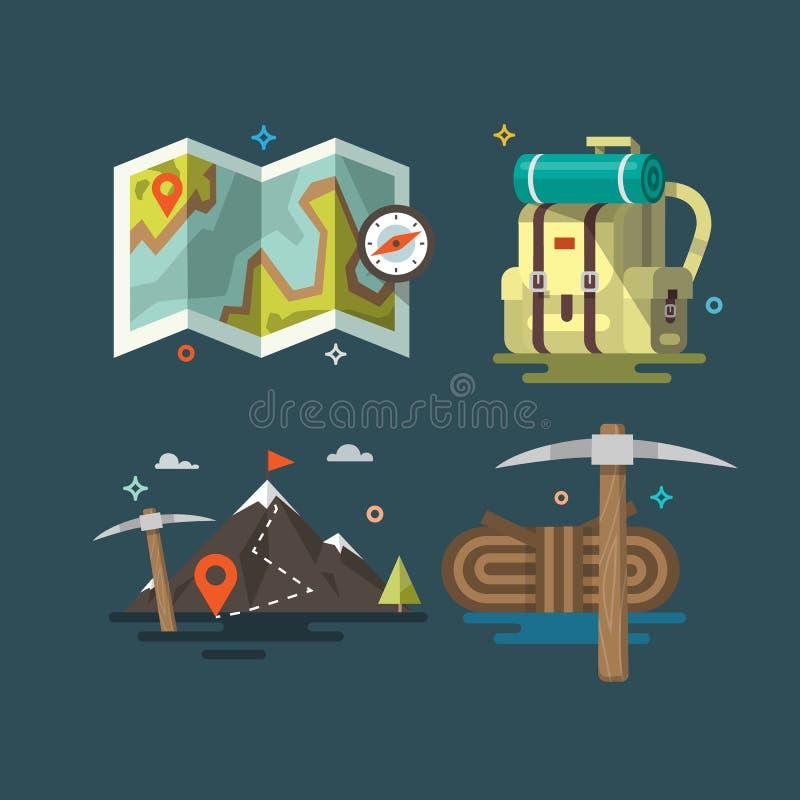 camping Sistema de símbolos del equipo que acampan stock de ilustración