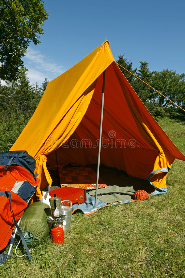 Camping site. Beautiful and natural camping site on a bright summer day stock images