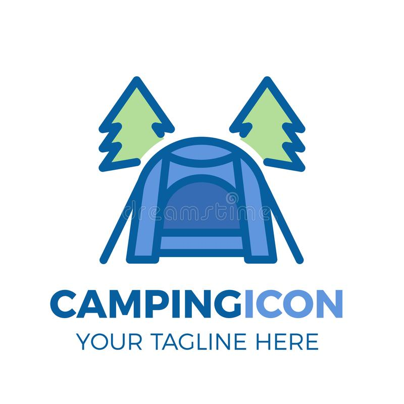 Camping site with modern tent and pine trees icon. Vector thin filled outline logo illustration for outdoor activities stock illustration