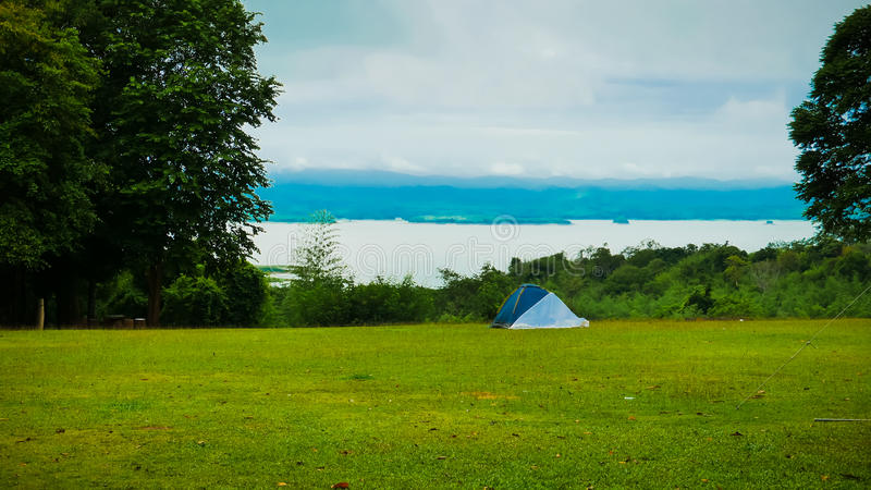 Camping Site. This place is the camping site at Huaymaekamin waterfall, Kanchanaburi, Thailand. Just get up early and feel the fresh air up here royalty free stock images