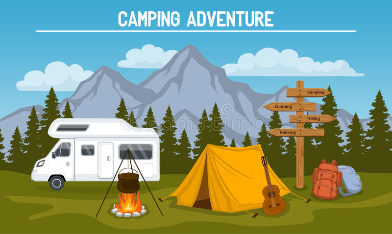 Camping Site Scene royalty free illustration