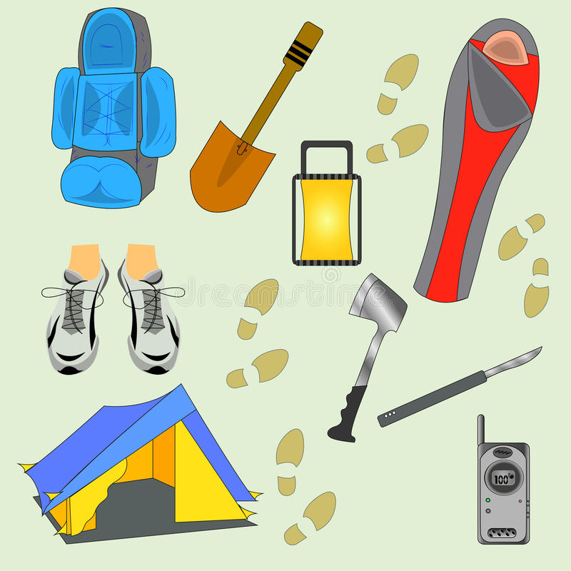 Camping Stuff Vector Illustration. Tourist Equipment Silhouette Isolated On Light Green Background. stock illustration