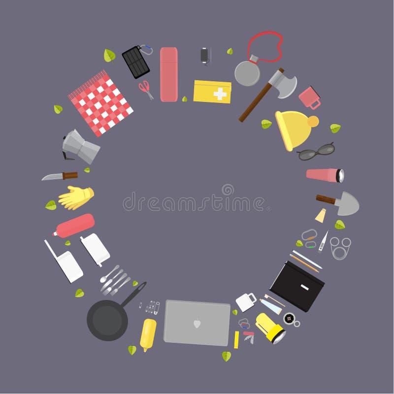 Camping supplies , set of camping stuff vector illustration stock illustration