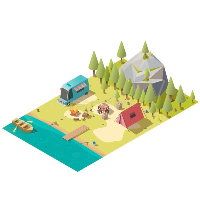 Camping sur le vecteur isométrique de rivage de lac de montagne illustration libre de droits
