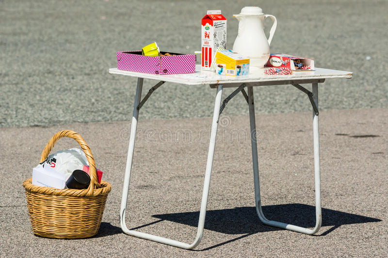Camping table stock image