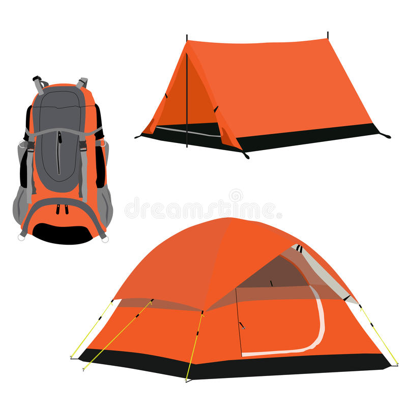 Camping tent and backpack stock illustration