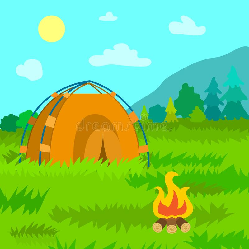 Tent of Travelers, Bonfire and Forests of Area royalty free illustration
