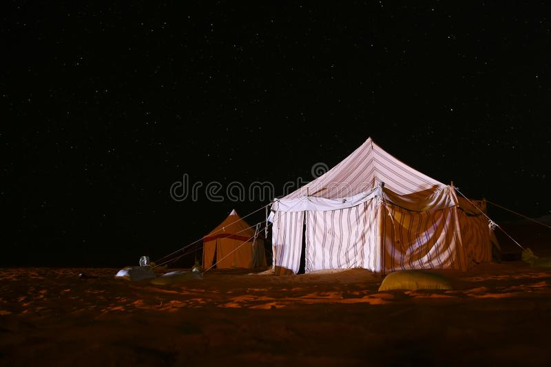 Camping in the desert under The stars stock photo