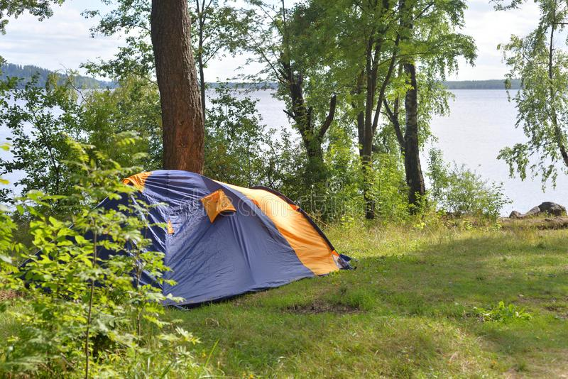 Camping tent in forest stock photography