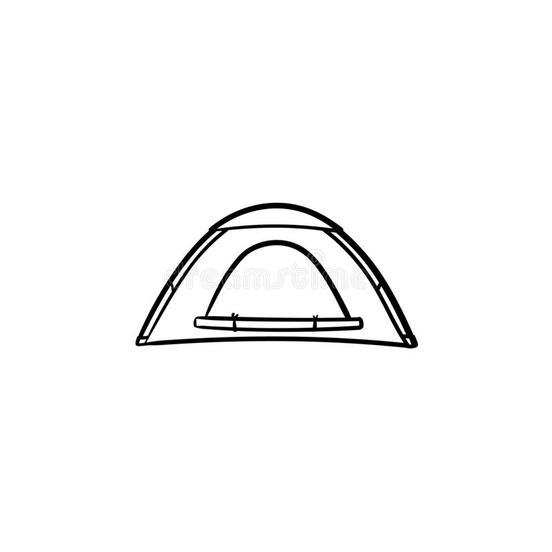 Camping tent hand drawn outline doodle icon. vector illustration