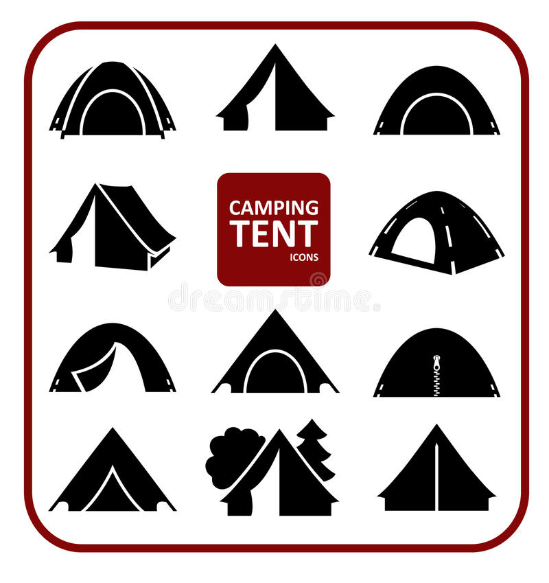 Camping tent icons set stock illustration